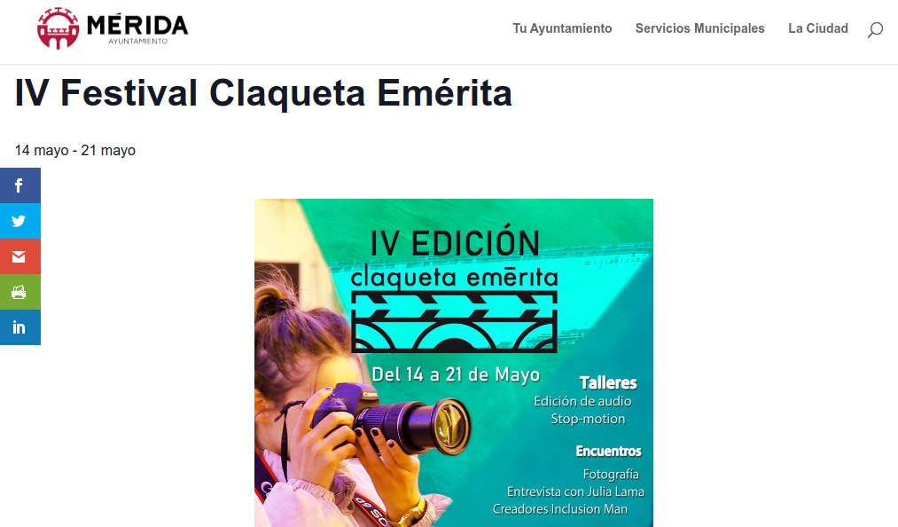 Claqueta Emérita en el Ayuntamiento de Mérida