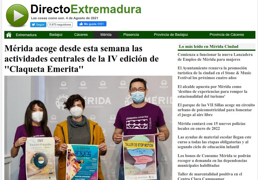 Claqueta Emérita en Directo Extremadura